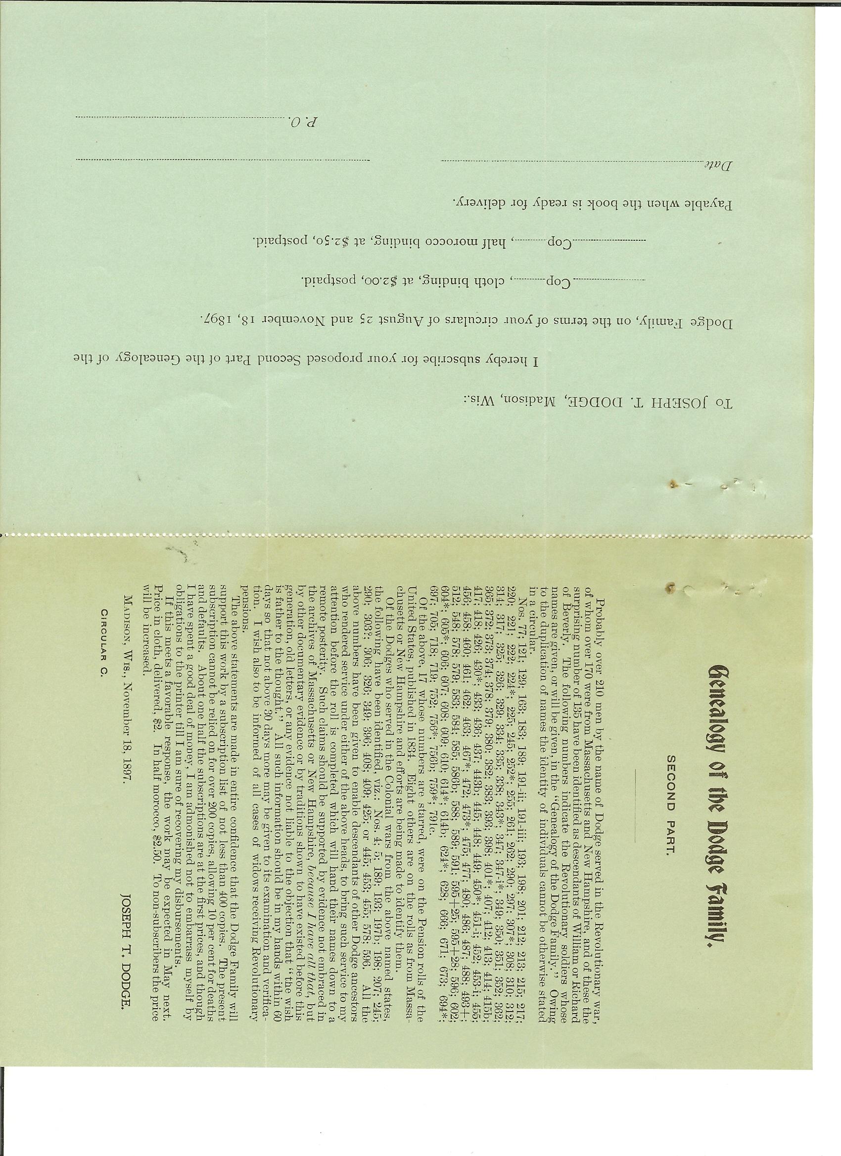 Index Of Genealogy MarthaAnnDodgeLetters Etc